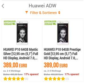 [Notebooksbilliger.de] Huawei P10 64GB Mystic Silver / Prestige Gold