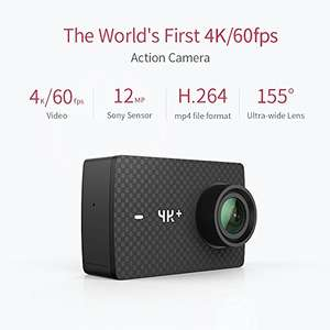 YI 4K+ PLUS Action Kamera (4K/60fps, 12MP Sensor mit 5,56 cm (2,2 Zoll) Touchscreen- EU Version) mit Gutschein