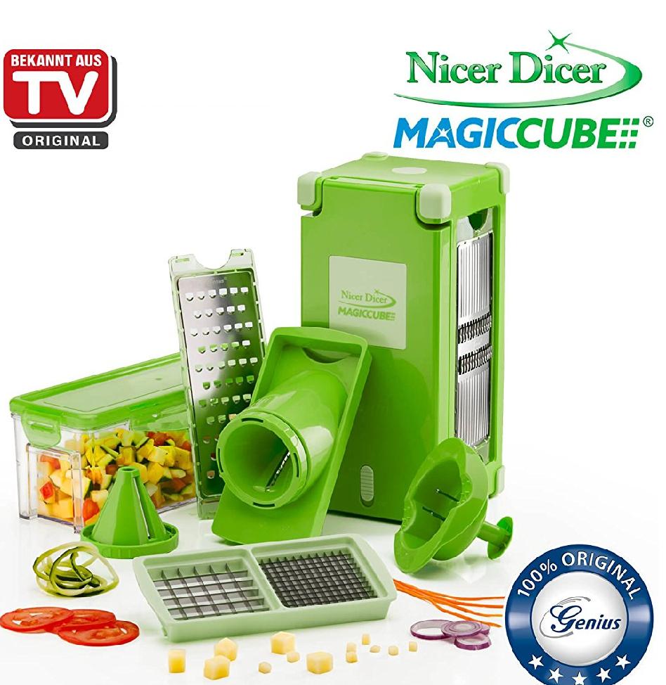 Genius Nicer Dicer Magic Cube| Grün | 12 Teile | Obst- und Gemüseschneider Amazon.de Blitzangebot