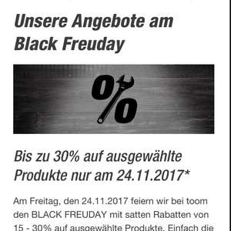 Toom Baumarkt Bis zu 30% auf ausgewählte Produkte nur am 24.11.2017*