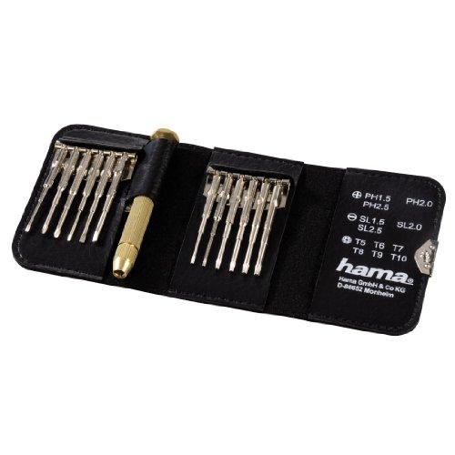 [Amazon Tagesdeal] Hama Feinmechaniker Mini Schraubendreher-Set für Uhr, Brille, Modellbau, Handy, PC, Laptop (Magnetisierbar, Torque, Schlitz, Kreuzschlitz) Werkzeug-Set 13-teilig