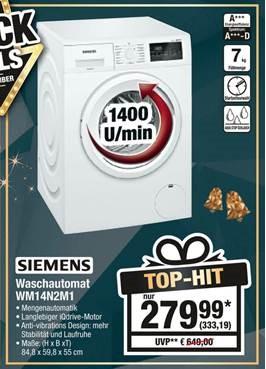 Siemens Waschmaschine WM14N2M1 weiß 7kg A+++ bei Metro