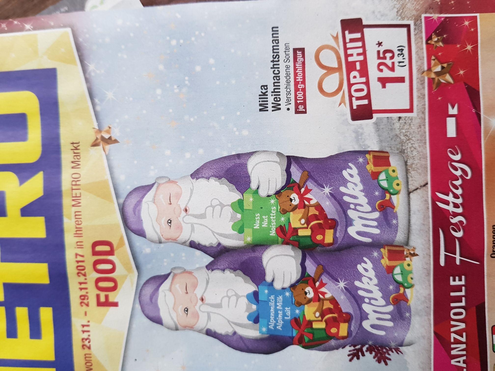 (Metro) ab 23.11 der Milka Weihnachtsmann je 100g Figur für 1.34€
