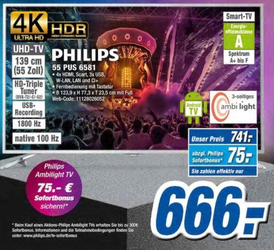 BLACKWEEK: PHILIPS 4K Ultra HD TV 55 PUS 6581 expert Gröblinghoff