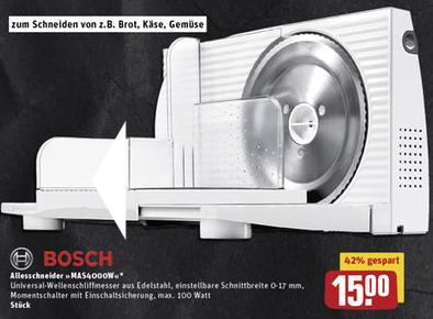 Bosch MAS4000W Allesschneider für 15 € @ [REWE Center ab 23.11.]