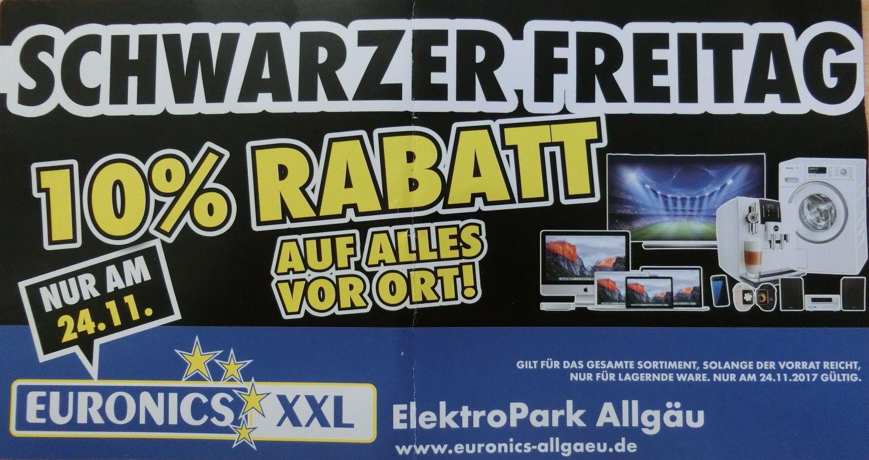 "[Lokal Kaufbeuren] Euronics XXL 10% Rabatt auf alles vor Ort am ""Schwarzen Freitag"""