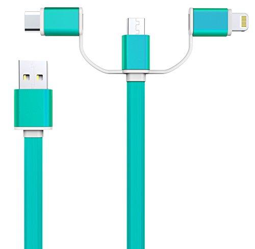 [Amazon] 3in1 Kabel (1m, 2.1A) USB Lade- und Datenkabel für Android (Micro-USB u. Typ C) u. Apple Lightning für 3,99 €