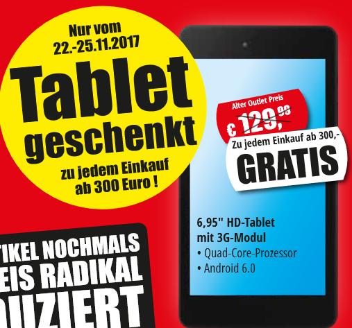 Gratis Tablet ab 300€ Einkaufswert beim Medion Fabrik Verkauf in Essen (22.11.-25.11.)