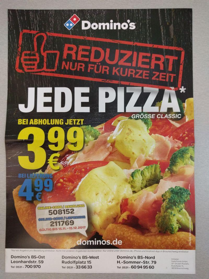 [LOKAL] Domino's Braunschweig - Alle Pizzen 4,99€ (Abholung 3,99 €) - Größe Classic