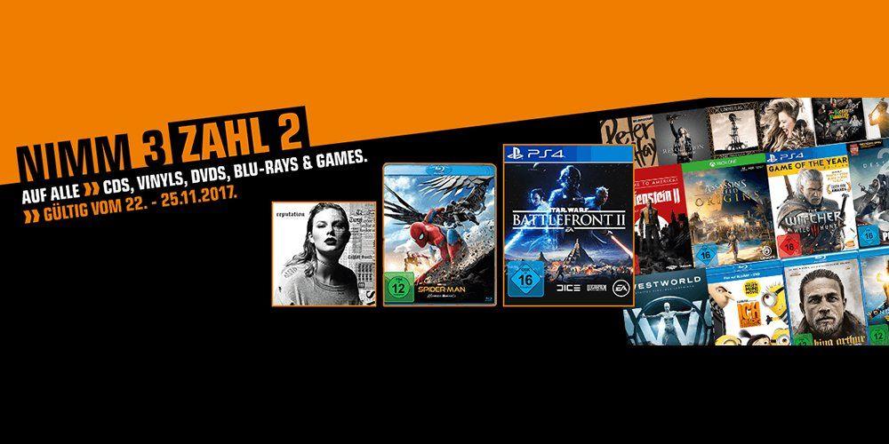 Saturn Lokal & Online: Nimm 3 Zahl 2 Aktion auf alle Games, Blu-Rays, DVDs, Vinyls & CDs