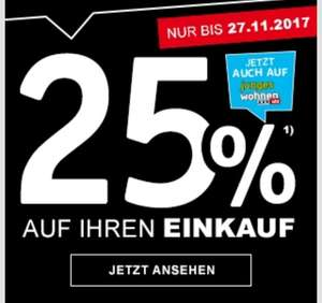 25% auf alles bis 27.11.17