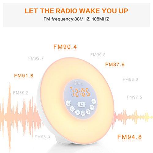 BLITZDEAL Thinp Lichtwecker Wake-up Light Sonnenaufgang- & Sonnenuntergangfunktion 6 Farblicht mit FM Radio ,6 natürlichen Wecktöne ,Schlummerfunktion