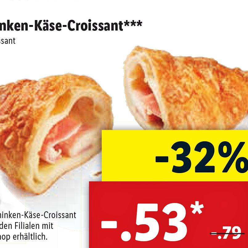 [Lidl] Die leckeren Käse-Schinken-Croissant statt 79 für nur 53 Cent