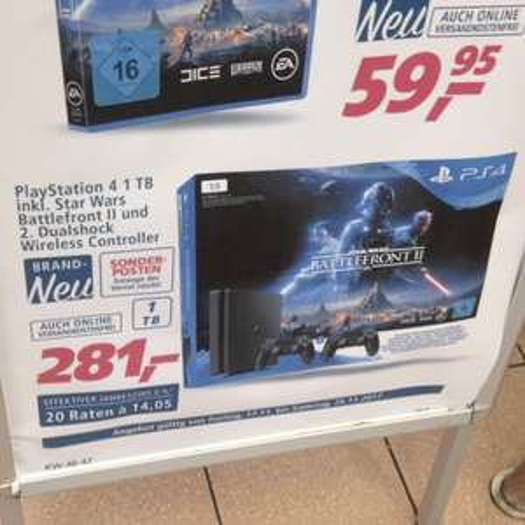 PS4 1TB 2x Controller + Starwars Battlefront II