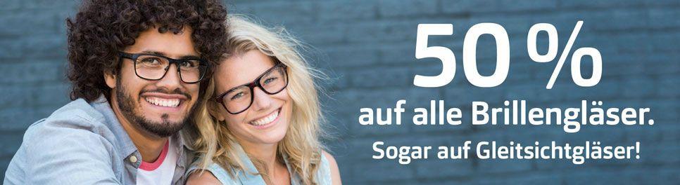 Für Brillenträger: 50% auf alle Brillengläser bei Apollo