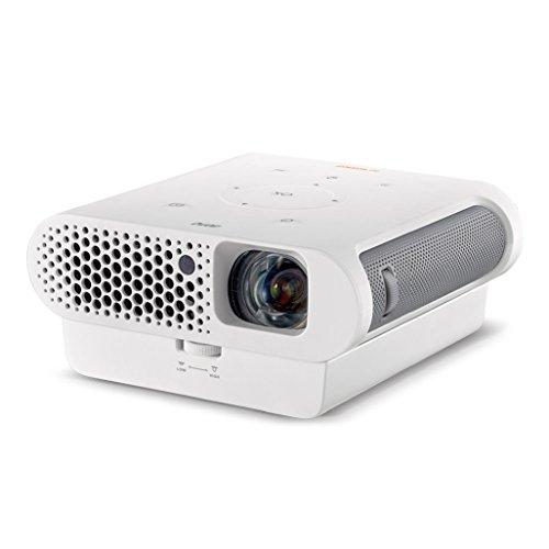 [amazon.es] BenQ GS1 portabler Outdoor LED-Projektor (1280 x 720 Pixel, 300 Ansi Lumen, HDMI/MHL, Kontrast 100.000:1, BT 4.0, 8.000 mAh, IPX1) mit Akku & Schutzhülle in weiß