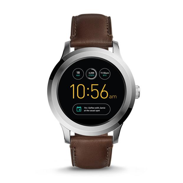 Fossil Herren Smartwatch Q Founder - 2. Generation - Leder - Dunkelbraun - Android Wear 2.0