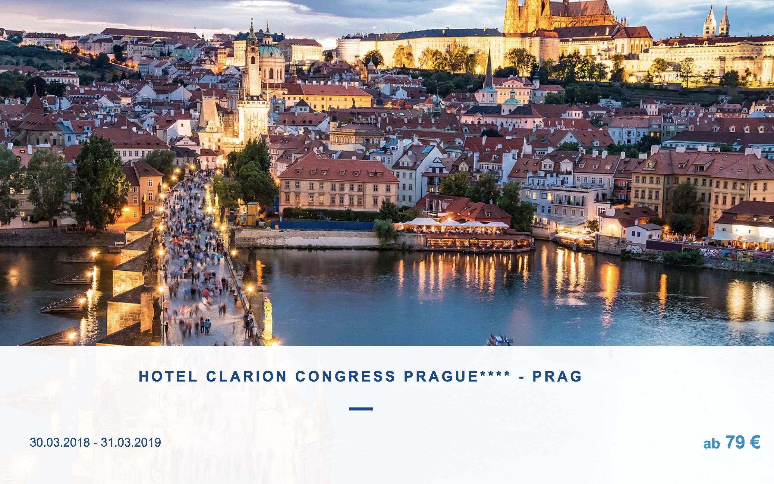 2 Nächte 4* HOTEL CLARION CONGRESS PRAGUE + viele Inklusivleistungen ab 79€ p.P.
