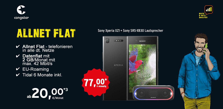 Congstar Allnet Flat 2 GB (20 € / Monat) + Sony Xperia Xz 1 +  Sony SRS XB30 Lautsprecher