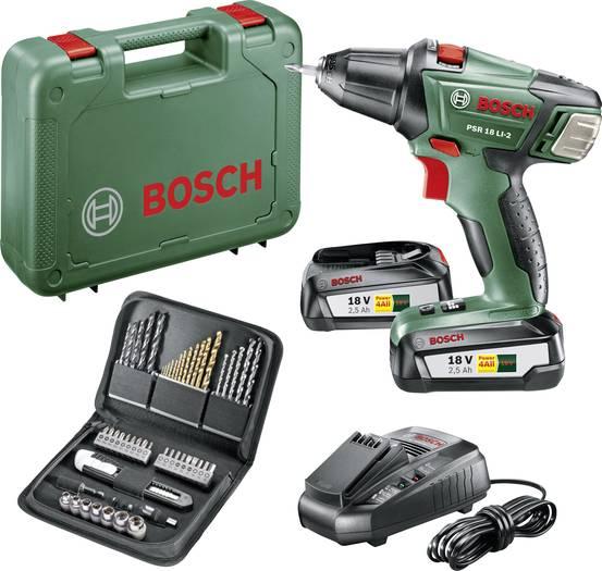 Bosch PSR 18 Li-2 Akku-Bohrschrauber inkl. 2. Akku + Koffer + 51tlg. Bit- & Bohrerset in der Black Week bei Voelkner
