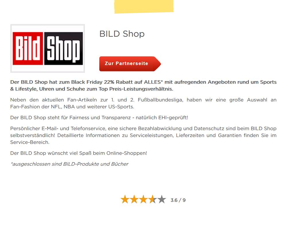 22% Rabatt auf ALLES im Bild.de Shop NUR am Black Friday !!