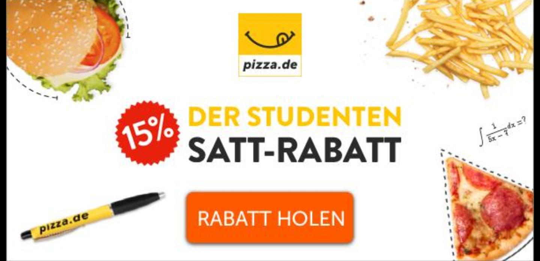[pizza.de] -15% Rabatt für Studenten! Täglich einlösbar bis 31.12.