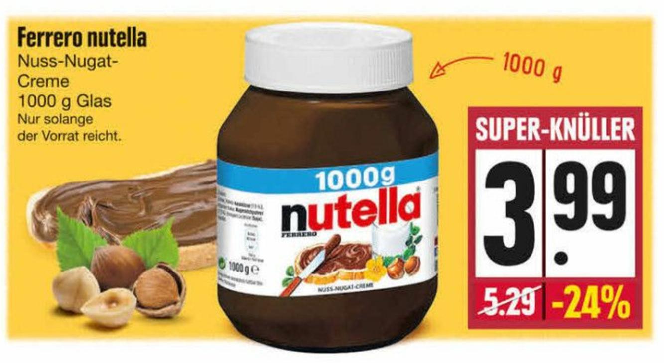 Edeka Südbayern (lokal - bundesweit?) Nutella 1 KG für 3,99€