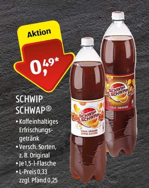 Aldi am 01. + 02.12. Schwip Schwap und Light 1,5l für 0,49€