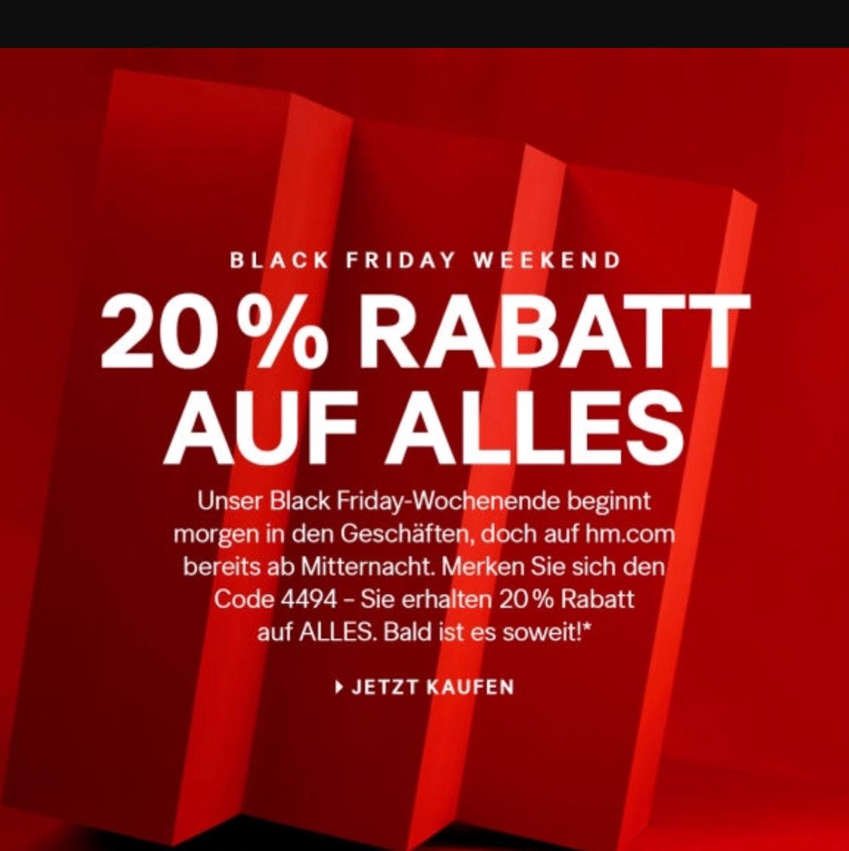 H&M Offline (In der Filiale) Black Friday - 20% auf alles außer Sale