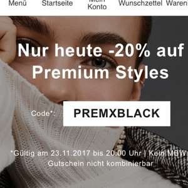 "20% auf ""Premium Styles"" bei Zalando (z.B. Armani, BOSS, Versace, Joop!)"