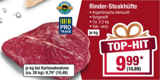 [Metro] Argentinische Rinder-Steakhüfte für 10,69 / kg (30.11. - 06.12.)