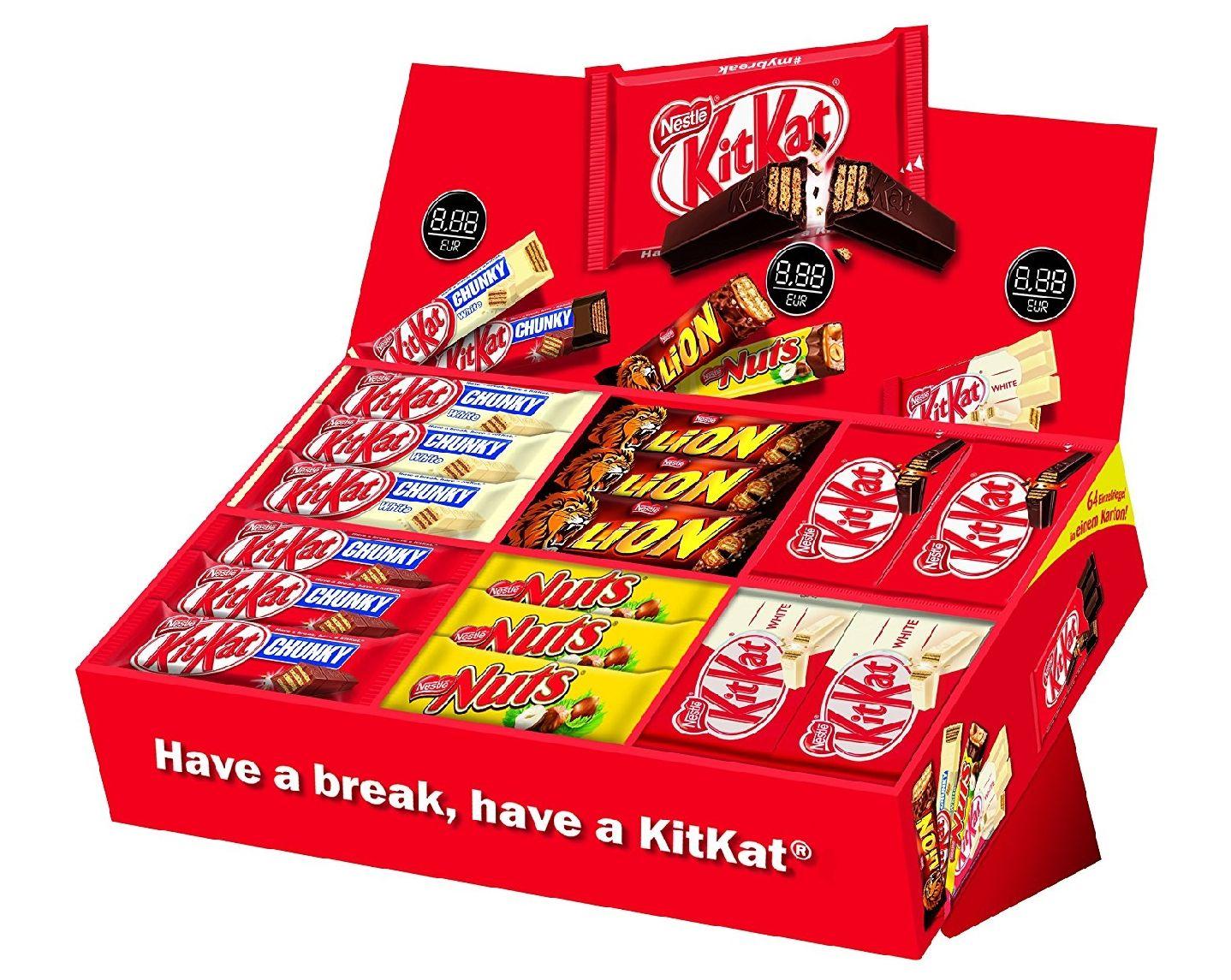 [amazon] Nestlé Schokoriegel Sortimentskarton, 64 leckere Riegel aus Schokolade in einer Mix-Box