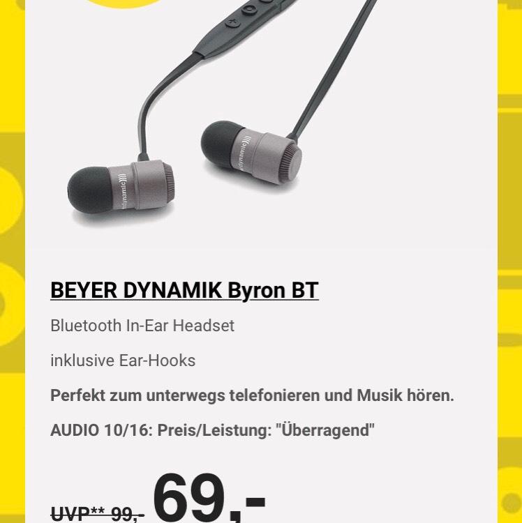 Hifi Profis Frankfurt,Beyer Dynamik Byron BT ,IN EAR Kopfhörer für 69€.Nur im Laden nicht Online.Preisvergleich 88€ Amazon!