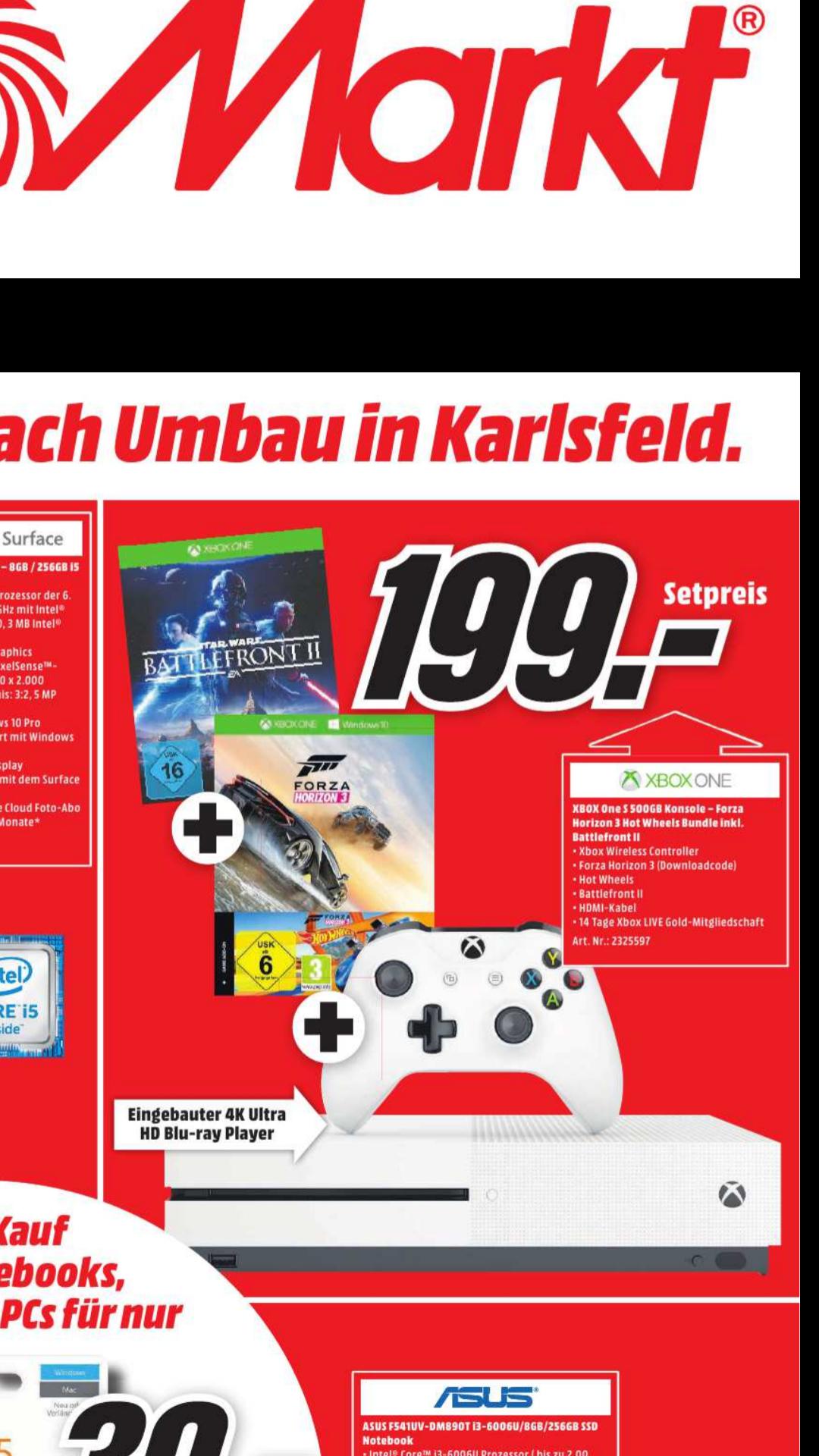 (MM Karlsfeld) XBox One S 500 GB + Forza Horizon 3 + Hot Wheels Add-on + Star Wars BF2