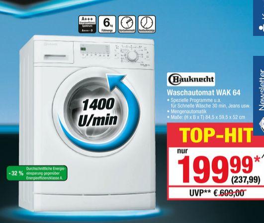 [Metro ab 30.11.] Bauknecht Waschmaschine WAK 64 (6kg, 1400 U/min, A+++)