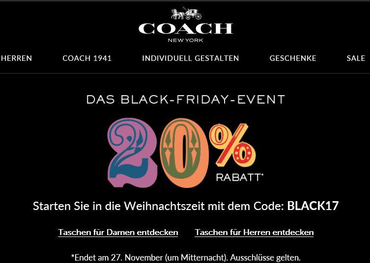 20% für alles Coach mit Code : BLACK17