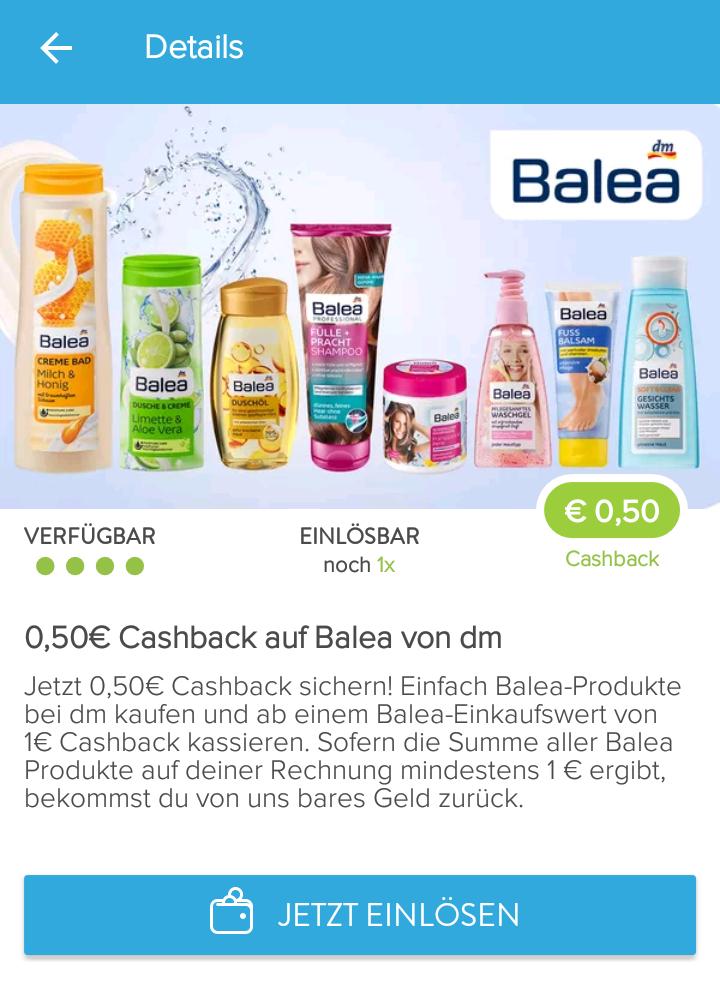 Marktguru 0,50€ Cashback bei mindestens 1€ Einkauf von Balea Produkten bei DM