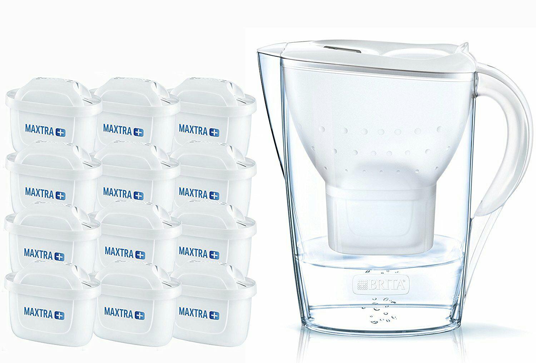 Brita Wasserfilter Jahrespaket Marella, inkl. 12 Maxtra+ Filterkartuschen weiß