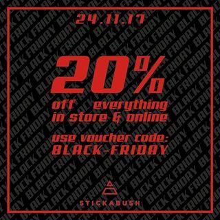 Bei stickabush.com 20% auf alles ab Freitag, online & offline (Sneaker usw.) z.B. Air Max One Ultra 2.0 für Damen für 80€