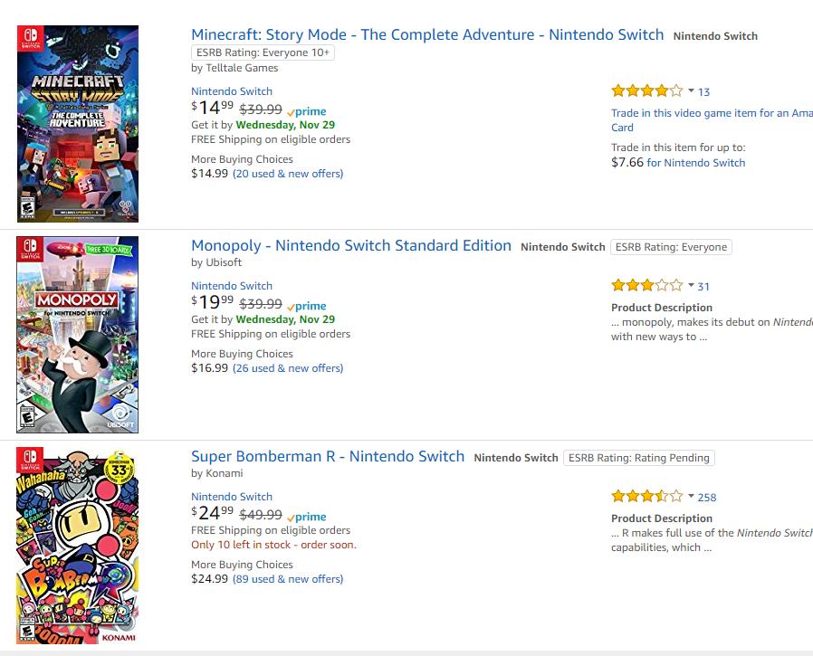 Nintendo Switch: Rayman, Sonic Forces, Lego Worlds, Battle Crashers, Batman, Lego Ninjago, Saldom, Monster Jam, Minecraft Story, Monopoly, Bomberman, Dragon Ball