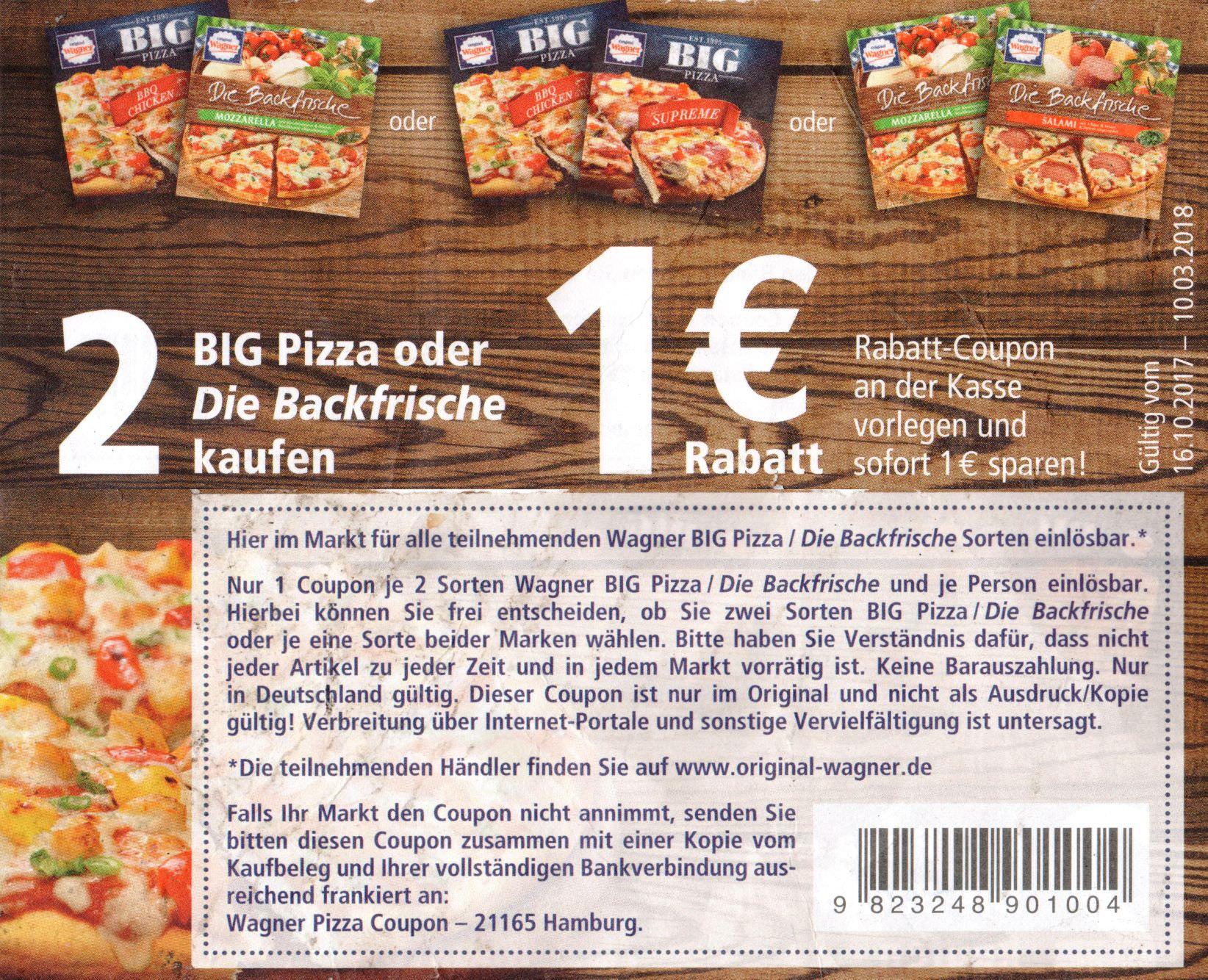 [Bundesweit] Neuer Wagner -1,00€ Sofort-Rabatt-Coupon für 2x Backfrische oder BIG Pizza