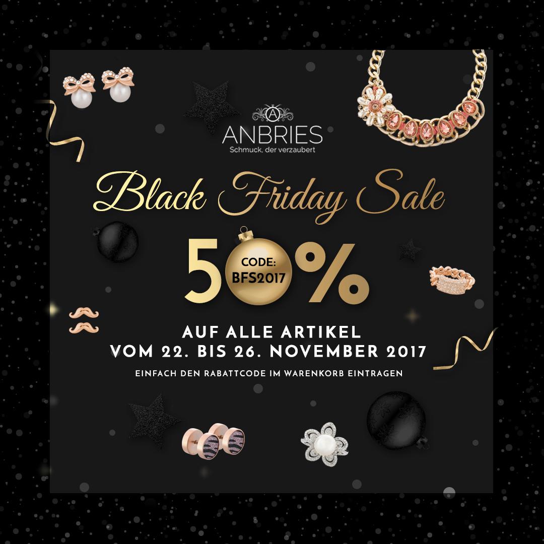 50% auf Schmuck und Accessoires beim ANBRIES - Black Friday Sale