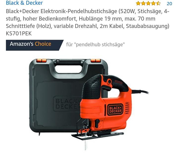 Black & Decker Pendelhubstichsäge mit Koffer