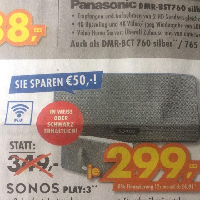 Sonos Play 3 (Lokal Euronics Biberach/Lindau/Leutkirch...)