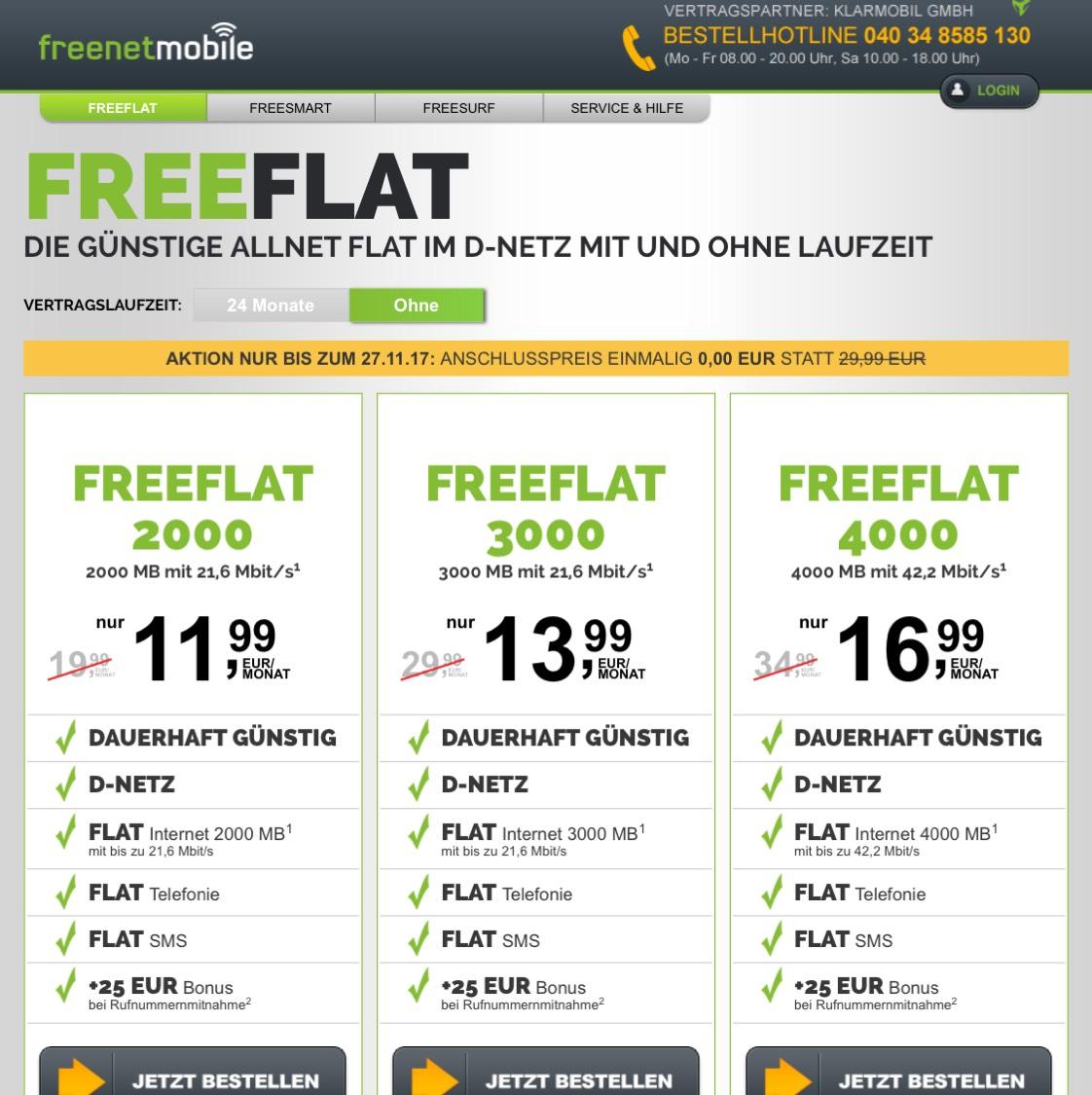 Freenetmobile Anschlusspreis 0€ statt 29,99€