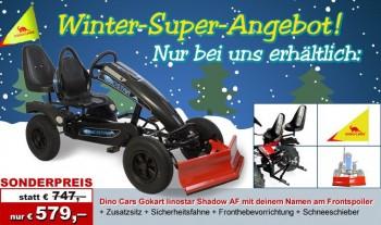 Dino Car Gokart (Kettcar) mit Soziussitz und Schneeschieber inkl. Beschriftung