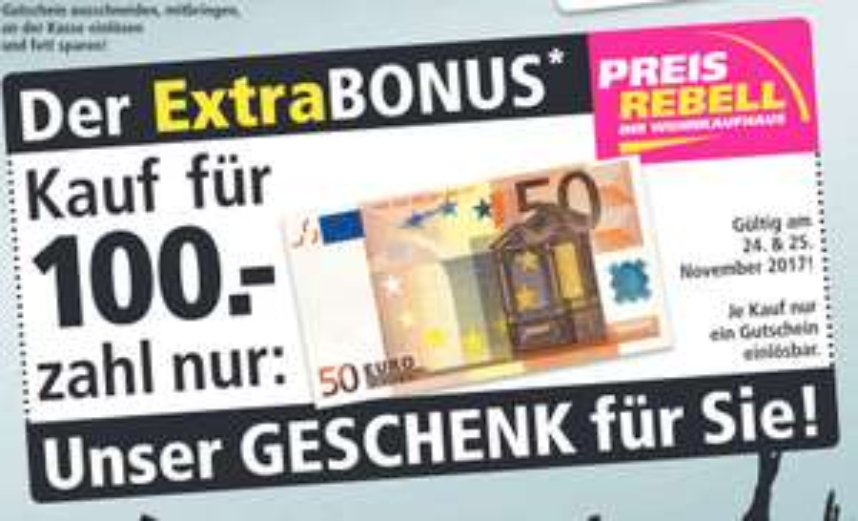 [Lokal: Paderborn, Münster und Erfurt] Preisrebell 50 € Rabatt ab 100 € Einkauf