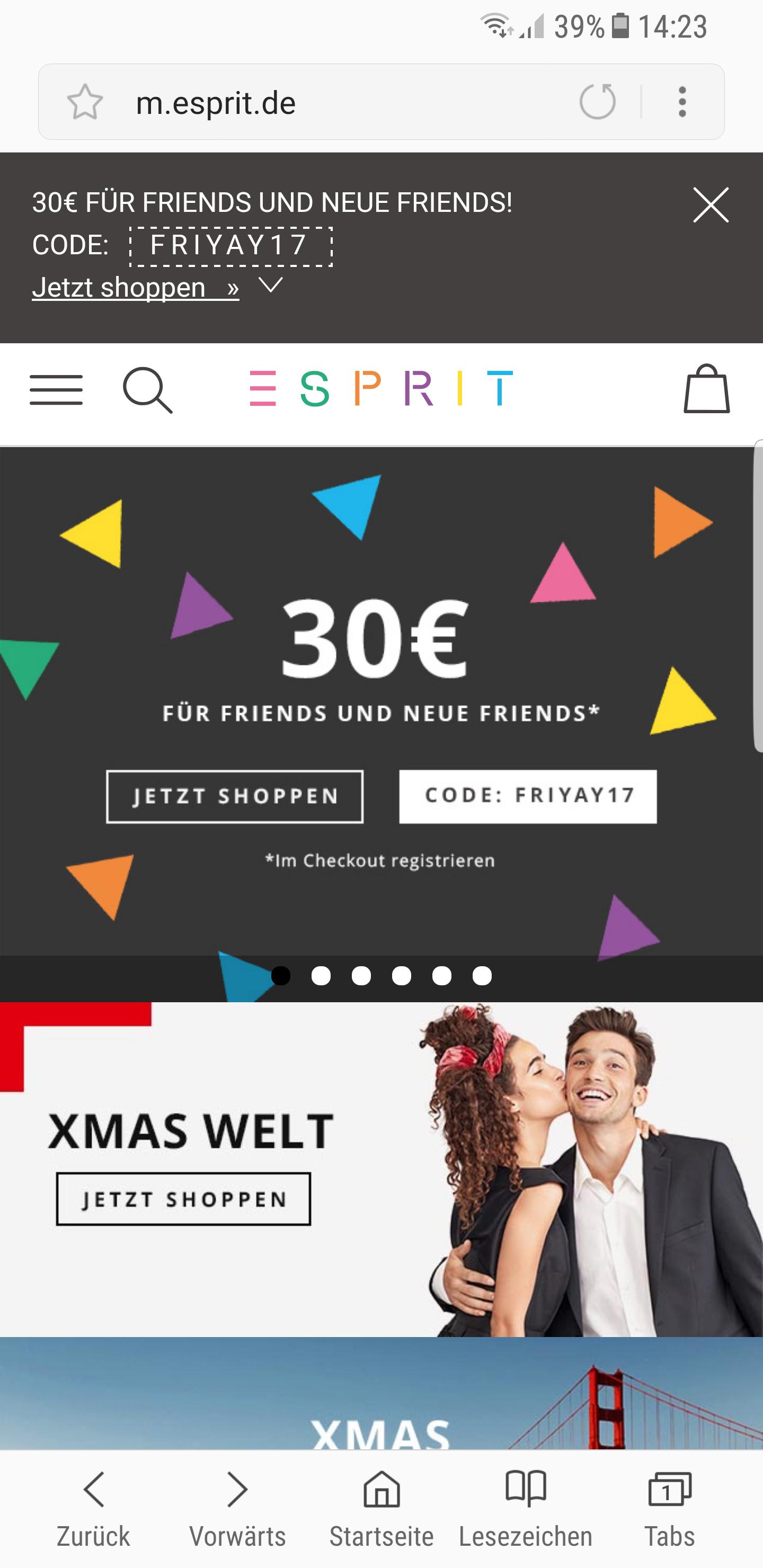 30€ Rabatt bei Esprit  für Einkauf über 75€