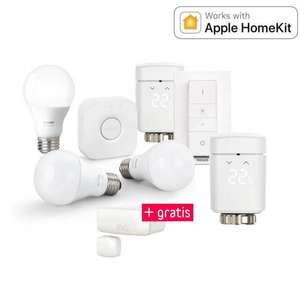 Apple Homekit Bundle - Licht und Heizung - 2 x Elgato Eve Thermo (2. Gen.) + gratis Eve Door & Window & Philips Hue White Starter Kit E27 - 3 Lampen, Bridge + Dimmschalter für 199,95 €
