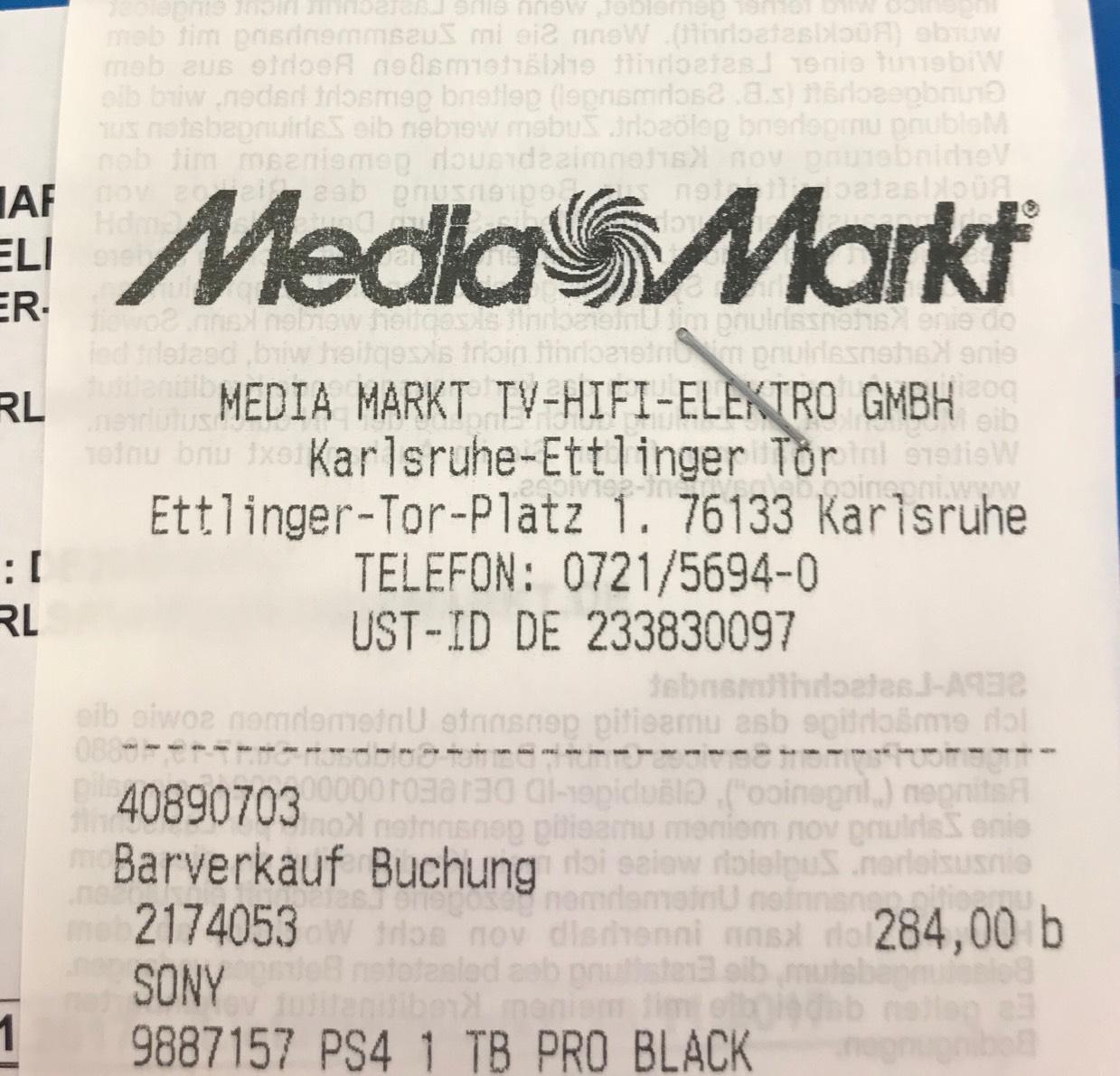 [PS4 PRO 1TB] Karlsruhe MediaMarkt
